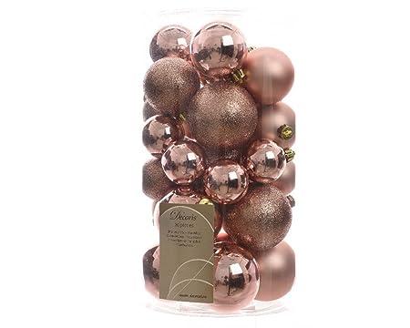 Albero Di Natale Rosa Cipria E Oro.30 Palline Di Natale Rosa Champagne Assortite Albero Di