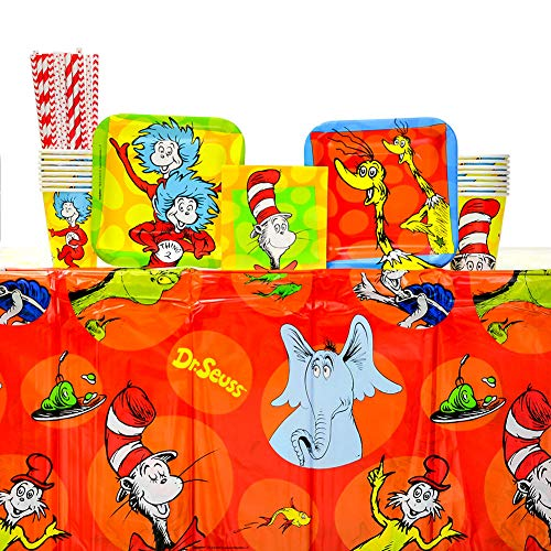 Dr. Seuss Party Supplies Pack for 16 Guests: Straws, Dessert Plates, Beverage Napkins, Cups, and Table Cover (Bundle for 16)
