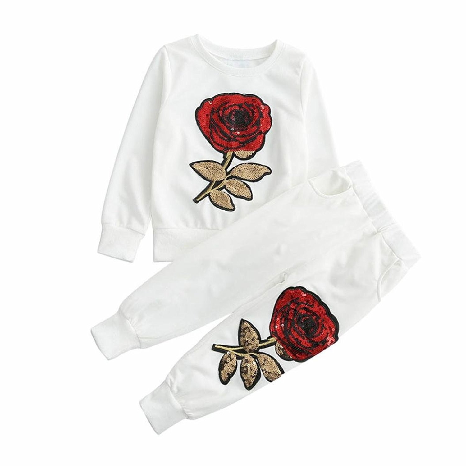 Fulltime(TM) Kids Girls Outfit Clothes Floral Embroidered Sequin T-shirt + Long Pants Sets F-6346