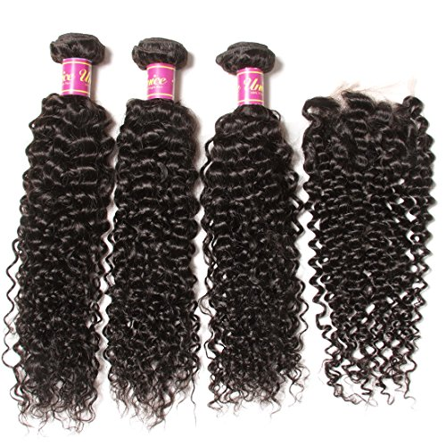 UNice Hair Brazilian Virgin Curly Hair with Free Part Lace Closure Unprocessed Virgin Brazilian Human Hair Extensions Natural Color (12 14 16+10 Free Part)