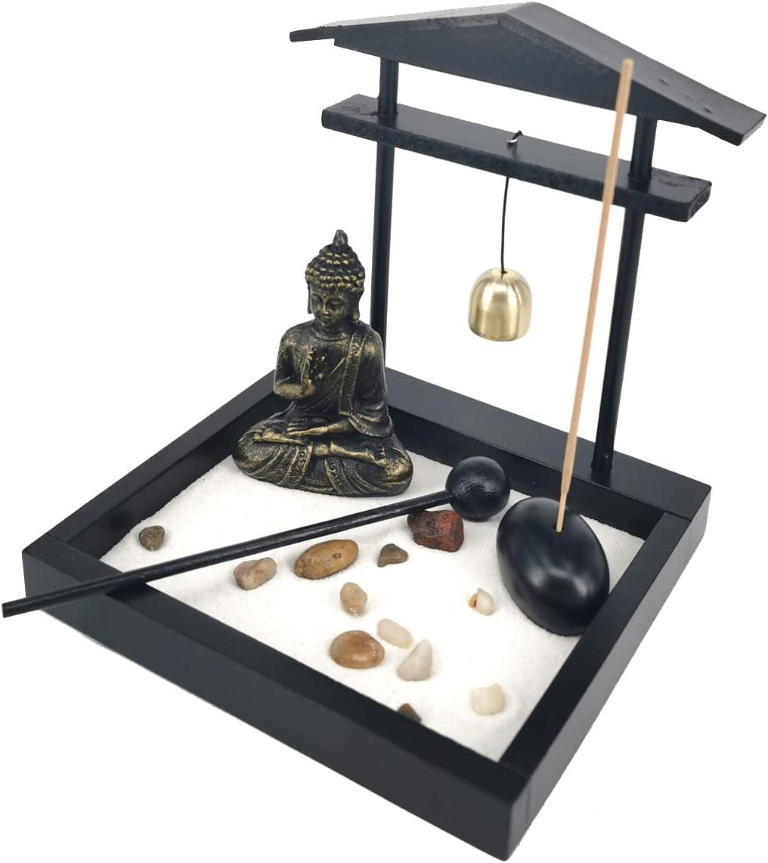 LZWIN Desk Meditation Decor Garden Buddha Statue Incense Stick Holder with Bell
