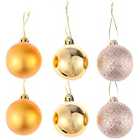 Toyvian 24 Parça Noel Topu Süsleri Simli Parçalanmaz Noel Ağacı Topları Dekor Noel Asma Süs Tatil Noel Düğün Parti…