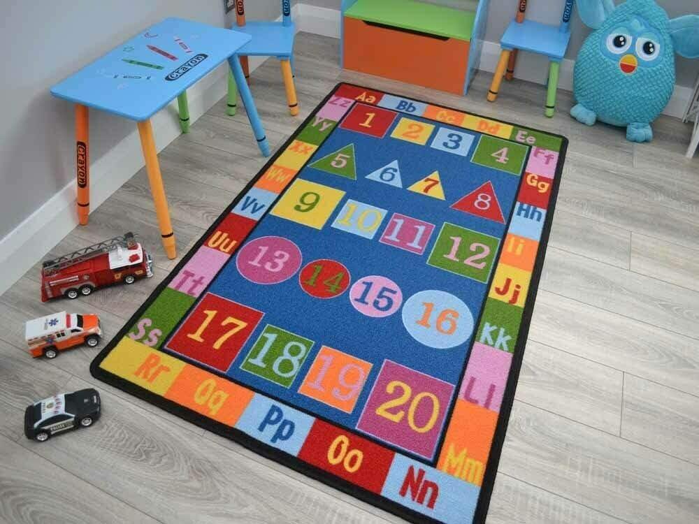 Small Large Boys Girls Kids Alphabet Numbers Childrens School Bright Rugs Mats 100cm x 160cm