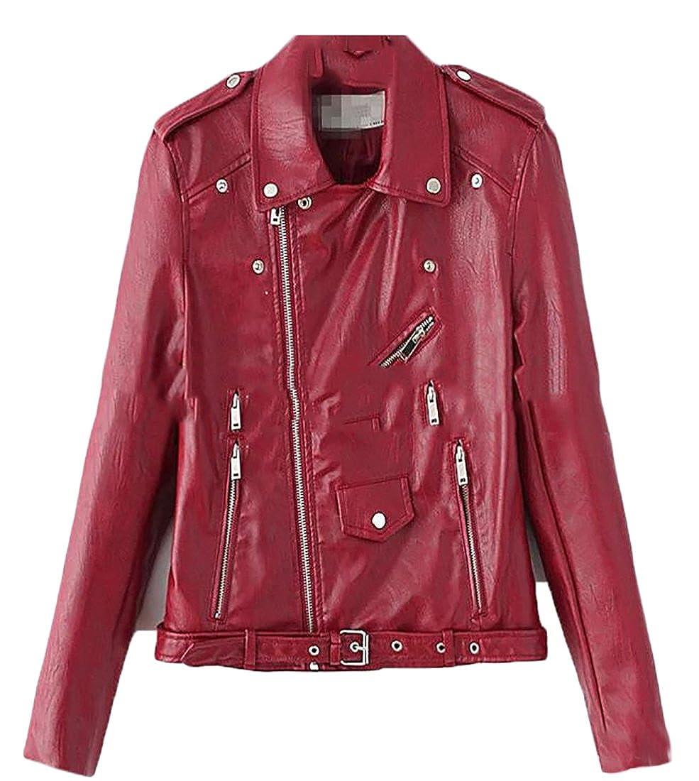 Jmwss QD Womens Side Zipper Motorcycle Biker Faux Leather Jackets