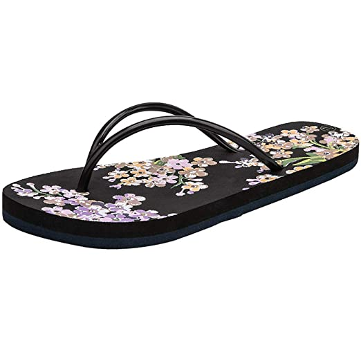 b6fde5989e5f Amazon.com  Kasien Women Ladies Girls Floral Flat Flip Flops Casual Sandals  Slippers Beach Shoes  Clothing