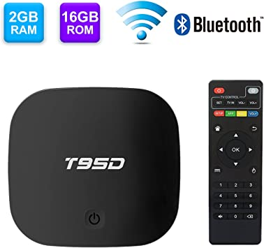 TV BOX Android 6.0 con 2GB RAM+16GB ROM, T95D Rockchip RK3229 Quad-Core Android Smart TV Box Soporte 4K*2K /2.4G Wifi/H.265/HDMI/Bluetooth Reproductor multimedia: Amazon.es: Electrónica