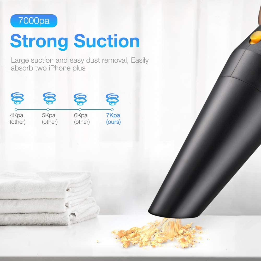 Wango Handheld Vacuums Cordless Cleaner, 7000Pa Powerful Suction Hand Car Vac, Light Weight & Portable Vacuum Cleaner for CarHome, Pet, Kitchen and