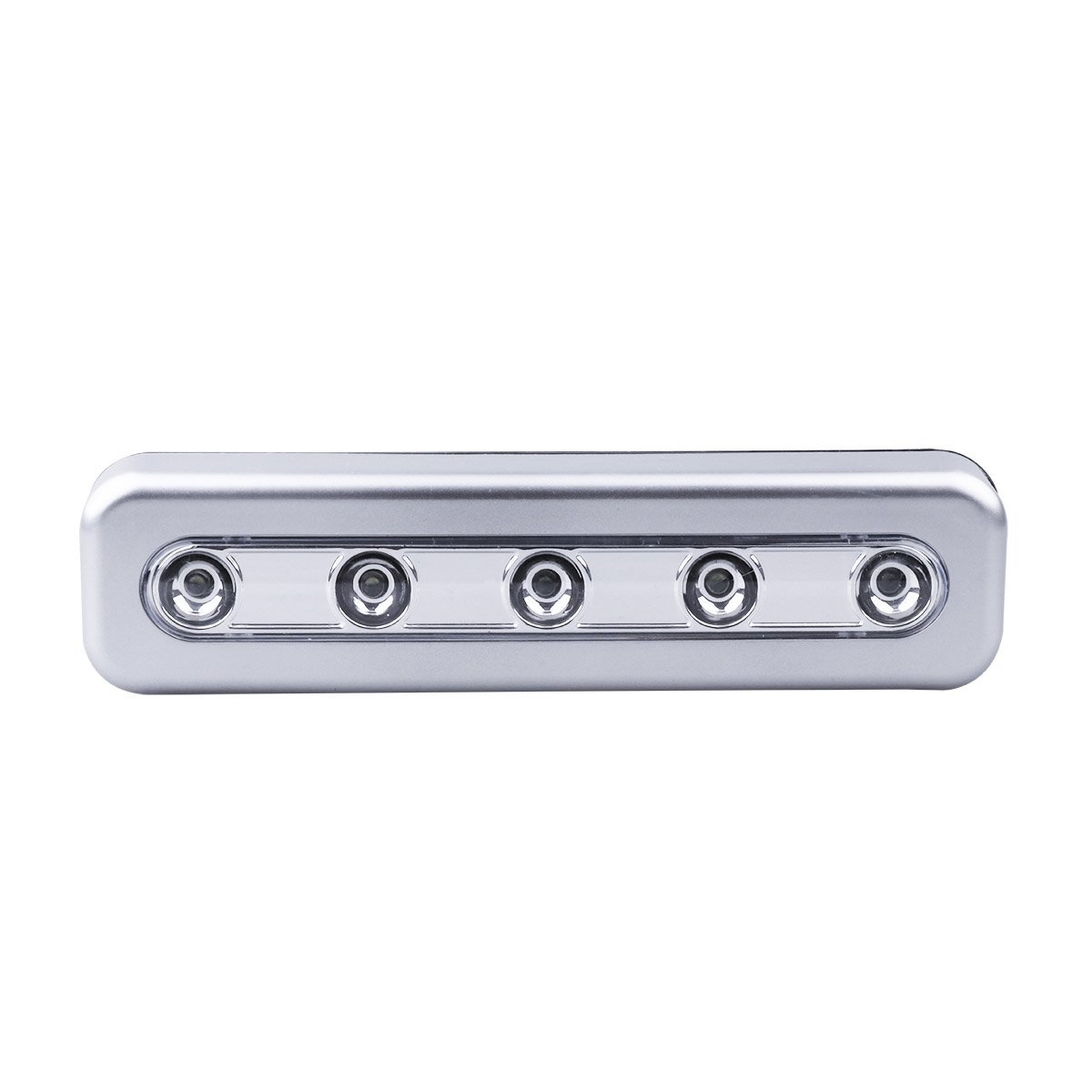 Stick-on Wireless 5-LED Cabinet Closet Night Light Push Lamp for Closet Cabinet Stairway Cupboard Battery Operated Silver