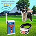 Outdoor Wireless Dog Fence Electric Training Collar 2 in 1 System, Safe Dog Fence Adjustable Remote Shock Training E-Collar, Beep/Vibrate/Electric Shock Collar Rechargeable Waterproof (1 Dog System)