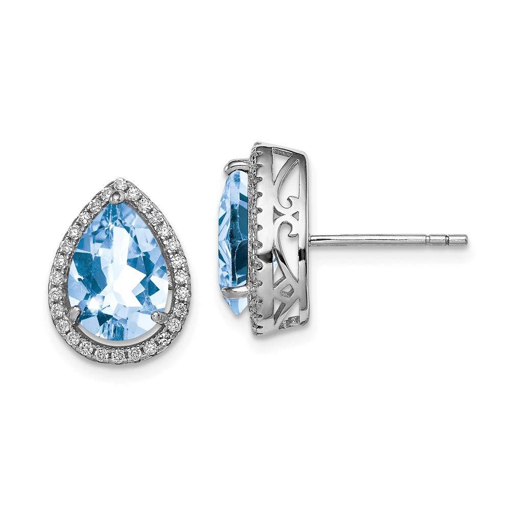 FB Jewels Solid Sterling Silver Rhodium Created Aquamarine /& CZ Cubic Zirconia Post Earrings