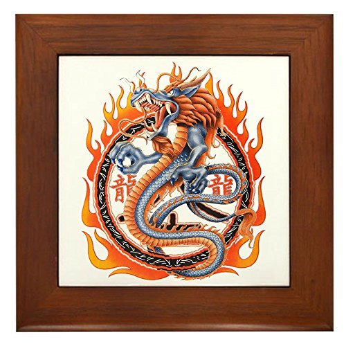 Framed Tile Dragon in Ring of Flames