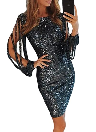 FIYOTE Womens Sexy Sequins Tassel Sleeve Bodycon Party Cocktail Midi Dress   Amazon.co.uk  Clothing 2c56ba1fc591