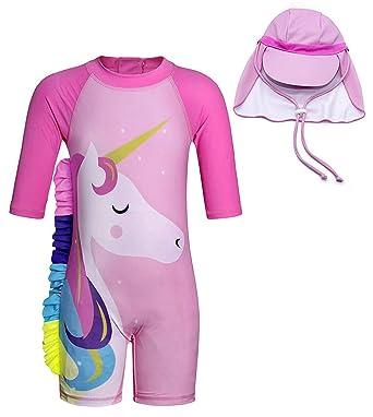 24422daa1086d Baby Toddler Girl Unicorn Swimsuit Short Sleeve Bathing Suit-One Piece  Swimwear Infant Toddler Sunsuits