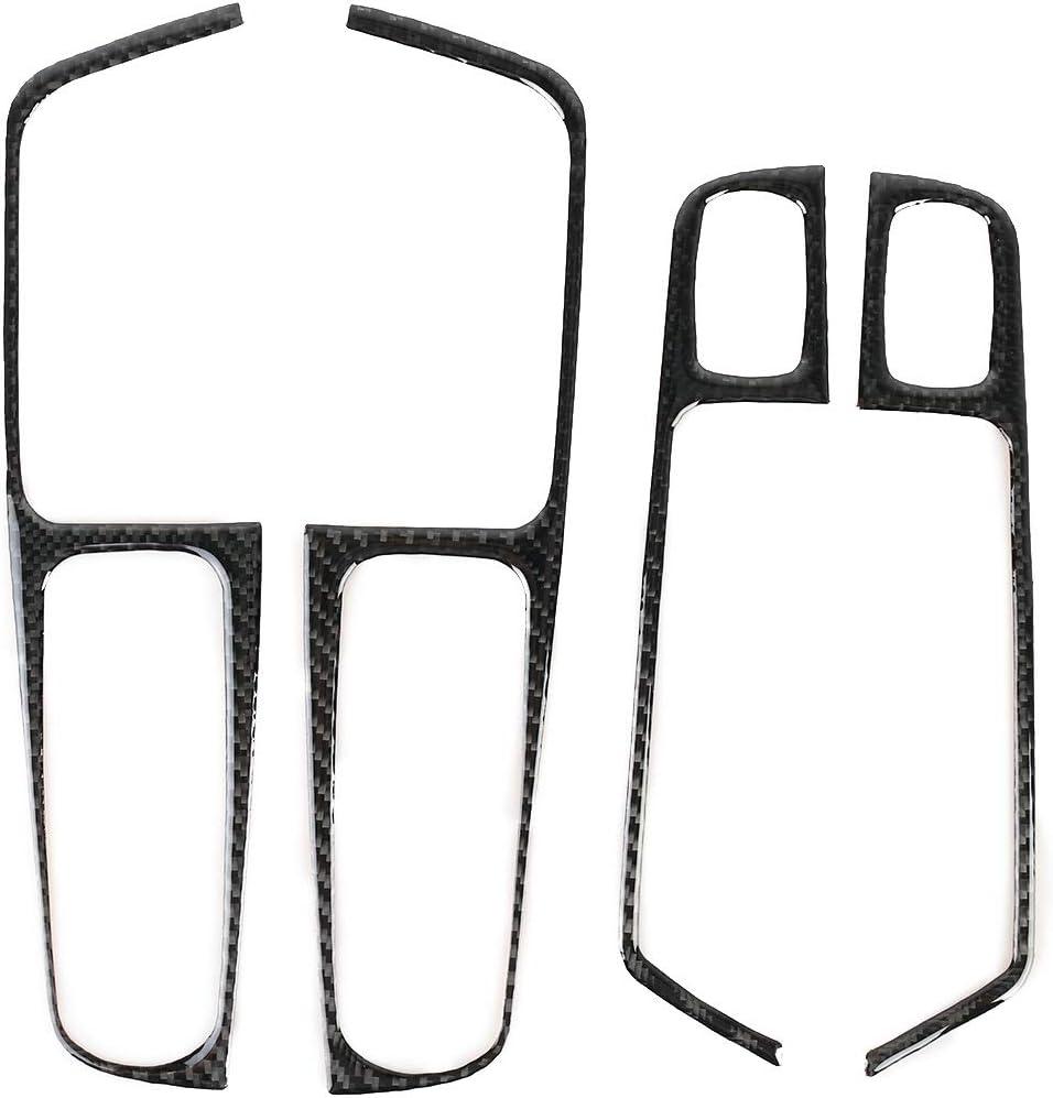Sevenplusone Simple et Pratique L/éger et Beau Facile /à transpo 4 PCS fen/être de Voiture en Fibre de Carbone Bouton Panneau Autocollant d/écoratif for Porsche Macan Simple et Pratique