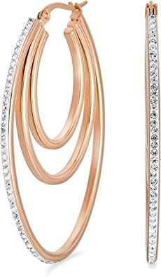 Handcrafted Hoop Rose Gold Plated Silver Pave Earrings