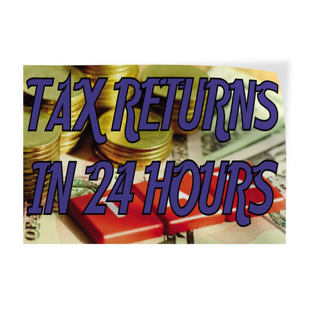 Set of 2 54inx36in Decal Sticker Multiple Sizes Tax Returns in 24 Hours Business Tax Returns Outdoor Store Sign Golden