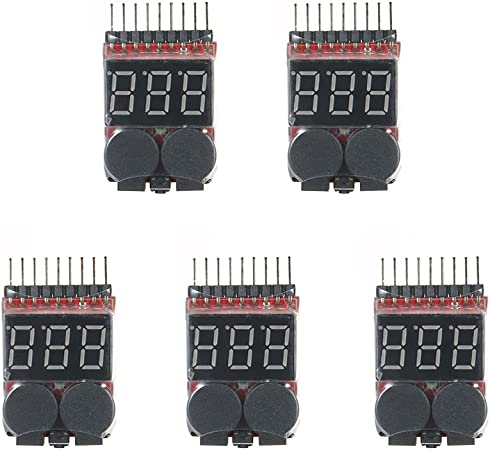 5pcs 1S-8S Battery Low Voltage Tester Alarm Buzzer Battery Voltage 2IN1 Tester