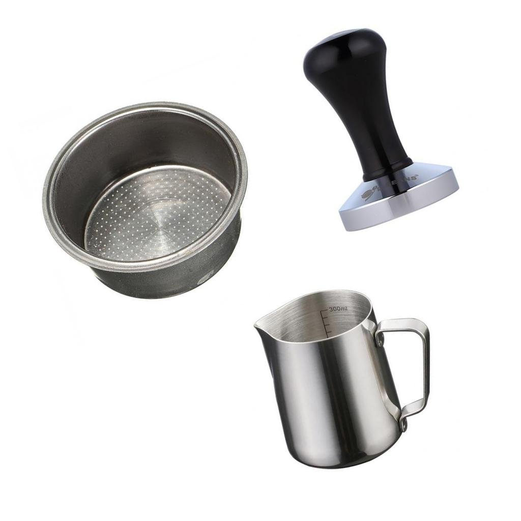 Fityle Coffee 2 Cup 51mm Filter Bakset with 350ml Coffee Pitcher & Coffee Tamper