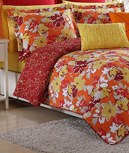 Fiesta Sedona Reversible Quilt Set - King - Poppy Red - with 2 Pillow - Sedona Set Bedding