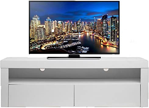 MAKPON - Mueble de TV con 2 cajones de Madera con Luces LED Brillantes, Color Blanco (160 x 35 x 50 cm), Color Blanco: Amazon.es: Electrónica