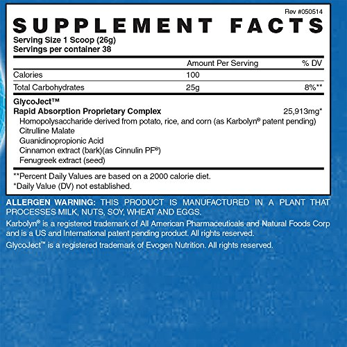 Evogen GlycoJect | Karbolyn® Carbohydrate Fuel | 36 servings | Unflavored