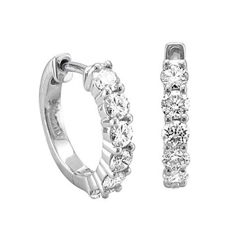 14k White Gold 6 Stone Hoop Diamond Earrings (3/4 Carat)