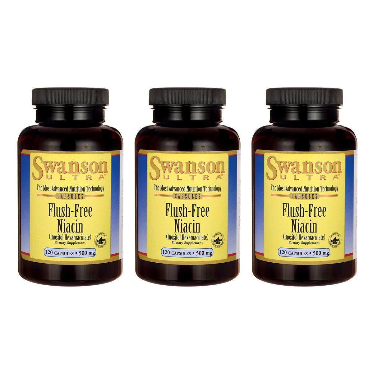 Swanson Flush Free Niacin 500 Milligrams 120 Capsules (3 Pack)