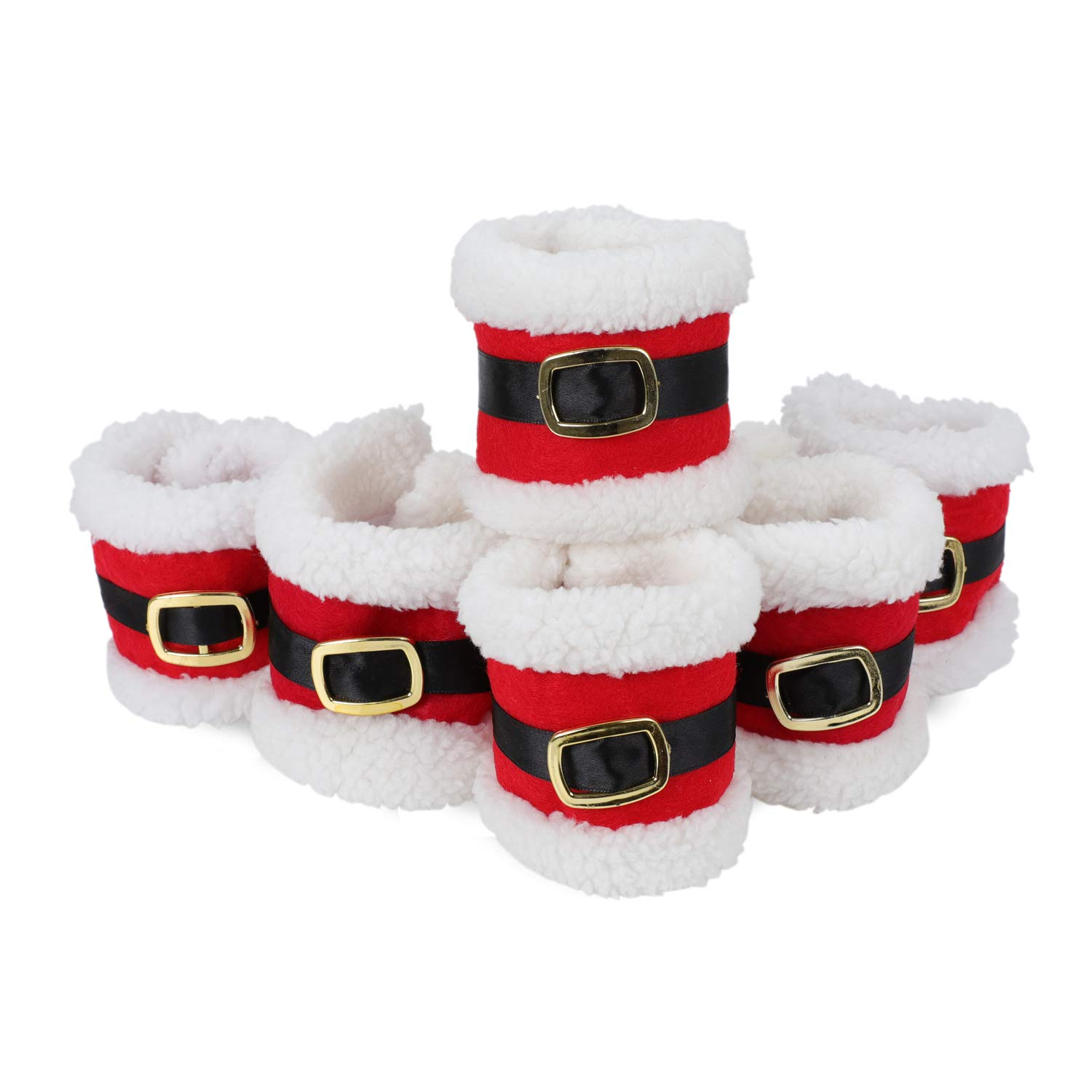 COM4SPORT Christmas Napkin Ring, Set of 6 Christmas Napkin Ring Holders, Christmas Table Decoration, Perfect for Christmas Dinner Party Use