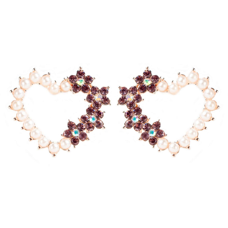 Fashion Pearl Mix Color Popular Stud Heart Earrings Elegant Earrings Jewelry For Girls