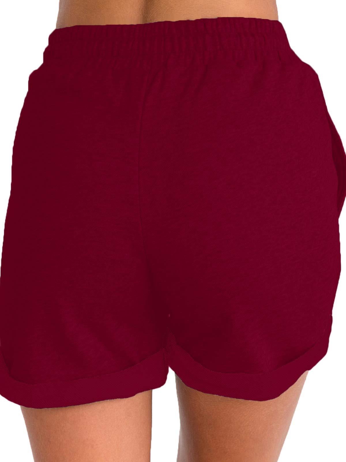 Govc Women's Juniors Shorts Casual Summer Elastic Waist Beach Shorts with Drawstring(Burgundy,S) by Govc (Image #4)