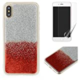 For iphone X Glitter Case with Screen Protector,OYIME Luxury Shiny Design Ultra Thin Slim Fit Soft Silicone Rubber Bumper Scratch Resistant Protective Back Cover - Red