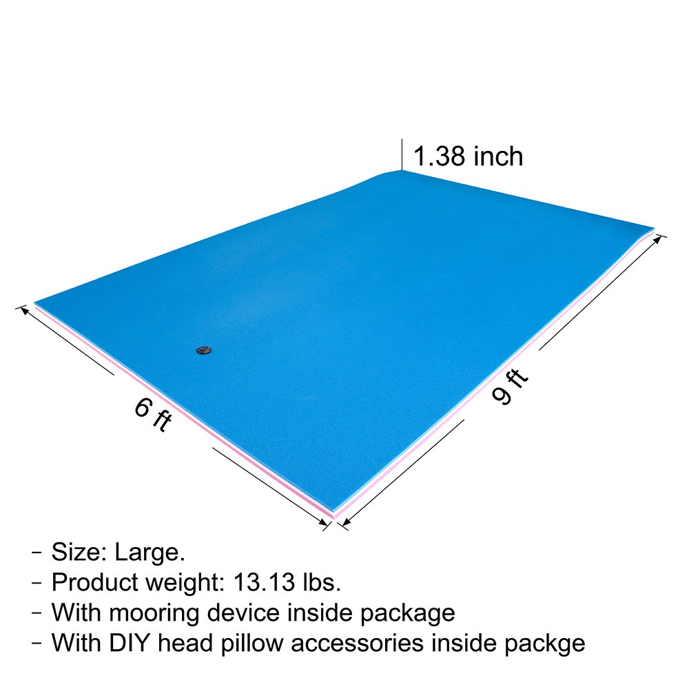 Fun Float Floating Water Mat, 9x6 feet, Swimming Island,Aqua Pad,Used in Lake,Pool,on Beach,for Relax, Vacation,Water Activities,Sports,Recreations,Parties,with Mooring Device,Rolled Packed, L-PWB by Fun Float (Image #3)