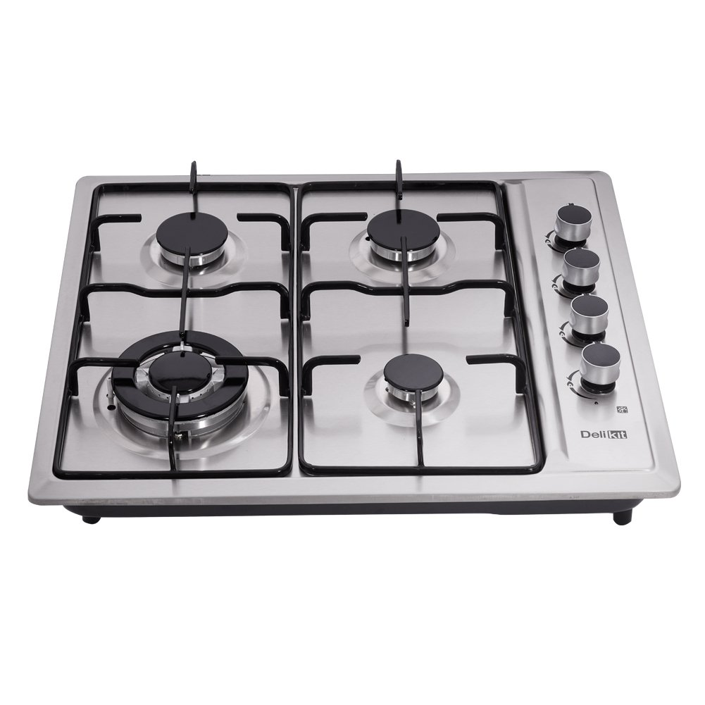 DeliKit DK245-A01T 23 inch gas cooktop gas hob 4 Burners LPG/NG Dual Fuel 4 Sealed Burners Stainless Steel Right Knobs gas hob Built-In gas hob 110V AC pulse ignition Gas Cooktops Cooker gas stov