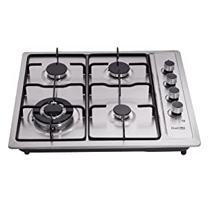 DeliKit DK245-A01T 24 inch gas cooktop gas hob stovetop 4 Burners LPG/NG Dual Fuel 4 Sealed Burners Stainless Steel Right Knobs gas hob Built-In gas hob 110V AC pulse ignition Gas Cooktops Cooker