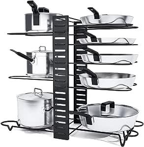 Organizador de ollas platos 8 niveles armario color negro organizador de sartenes para armarios de cocina con 3 m/étodos de bricolaje Charmdi organizador ajustable para ollas mostrador