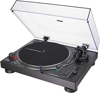 Audio-Technica AT-LP120XUSB Direct-Drive Turntable Analog/USB, Black + Audio Immersion Bundle w/Platter, Vinyl Record Cleaning System & Mackie 3