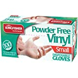 Kingfisher Powder-Free Disposable Vinyl Gloves, Small - Pack of 100