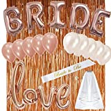 Rose Gold Bachelorette Party Decorations Kit Bridal Shower Kit - All in ONE PACKAGE-10Pcs Latex Balloons(5White,5Rose Gold), Bride Foil Balloons,Love Foil Balloon,Fringe Curtain,Bridal Veil and Sash