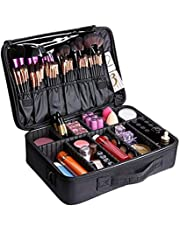 Large Makeup Bag Portable Cosmetic Organizer With Removable Divider Water Proof Multifunction Black