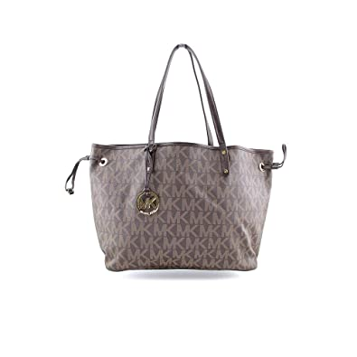 9b31e24c0abb Amazon.com: NEW AUTHENTIC MICHAEL KORS JET SET LARGE REVERSIBLE TOTE  (Brown/Sand): Shoes