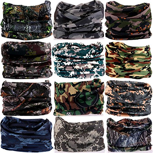 6PCS/8PCS/9PCS/12PCS Seamless headband camo bandanas headwear for men&women Neckwarmer Scarf 16-in-1 Multifunctional for Music Festivals Raves Neck Gaiter Magic Scarf Fishing Mask (12PCS-5CAMOUFLAGE1) ()