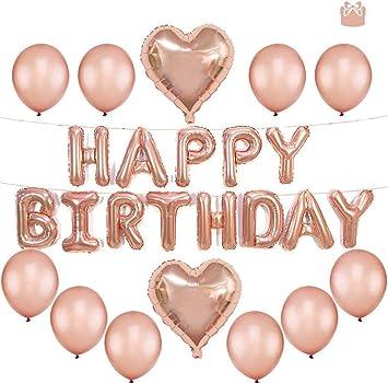 Tumao 13 pcs Decoración Cumpleaños de Globos, Oro Rosa Happy Birthday Banner Globos de Papel de Aluminio de Corazón Globos de Látex para Fiesta de ...