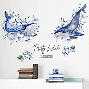 HU SHA Blue Whale Wall Stickers Ocean Fish Wall Decal Removable Vinyl Wall Decor for Nursery Kids Playroom Home Decor (35.4 x 23.6 inches Size)