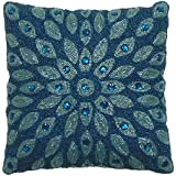 Cotton Craft - 2 Pack - Peacock Hand Beaded decorative Pillow Cover - 16x16 - Teal - Meticulously & lovingly handmade by skilled Craftsmen - Cover only