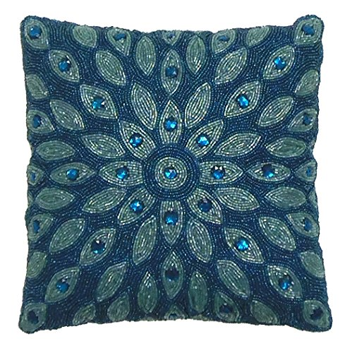 Cotton Craft -Peacock Hand Beaded Decorative Pillow 12x12 Square Blue Teal, Painstakingly & lovingly handmade by skilled Artisans, A beautiful and elegant accessory to dress up your couch, sofa or bed (Teal Decorative Throw Pillows)