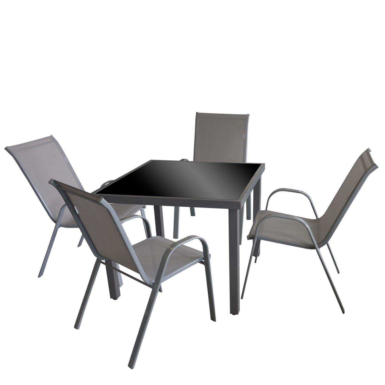 5tlg. Gartengarnitur Glastisch, Aluminiumrahmen, Tischglasplatte in ...