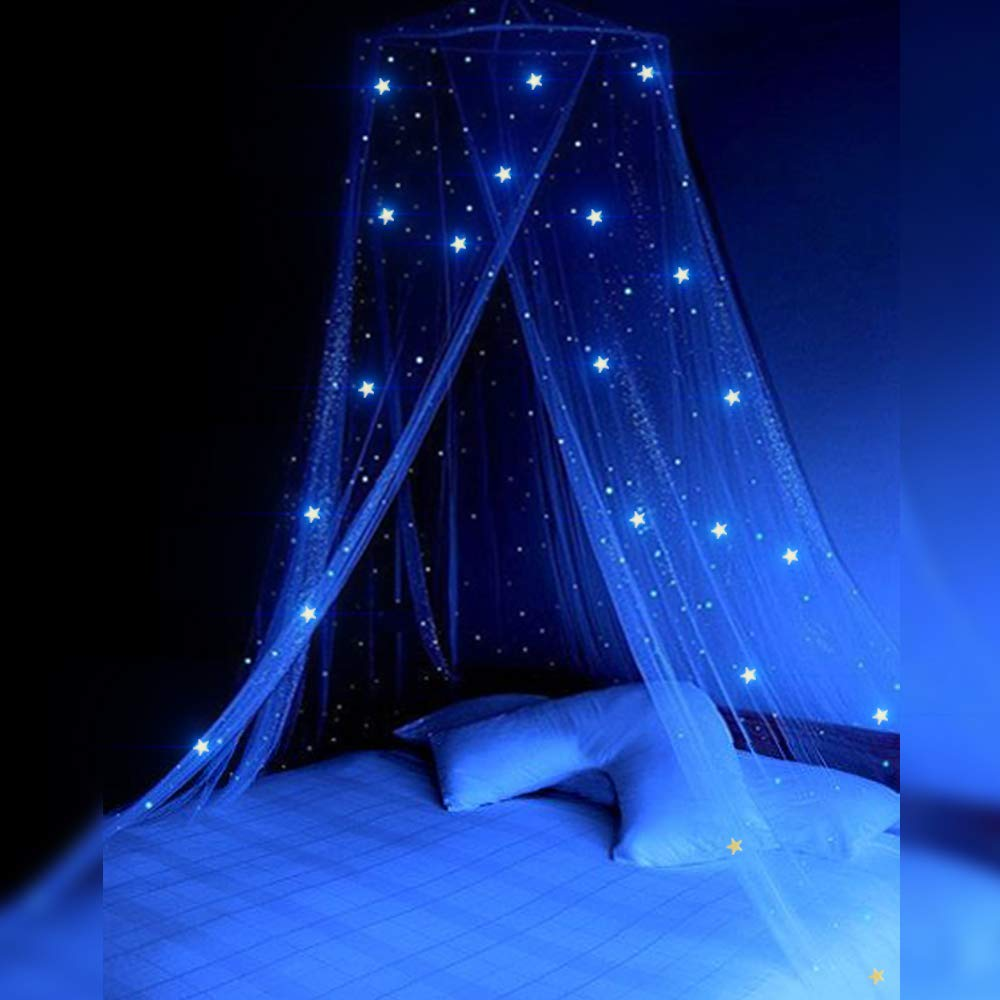 STZ Bed Canopy for Princess Girls Room Decorations with Fluorescent Stars Glow in Dark -Reading Nook for Kids-Canopy Bed Curtains-Hanging Tent-White by STZ (Image #2)