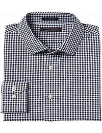 Grant Slim-Fit Non-Iron Stretch Gingham Shirt-Navy (Medium)