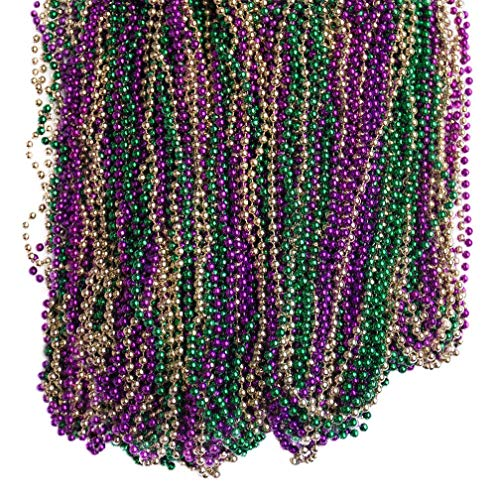 DABSHOP 144 Necklaces- 33 inch Mardi Gras Beads - Bead Necklace for Mardi Gras, Flapper Halloween Costume, and Party Decorations - Bulk Buy for Dresses, Floats, Toys, Games, Party Supplies and Prizes ()
