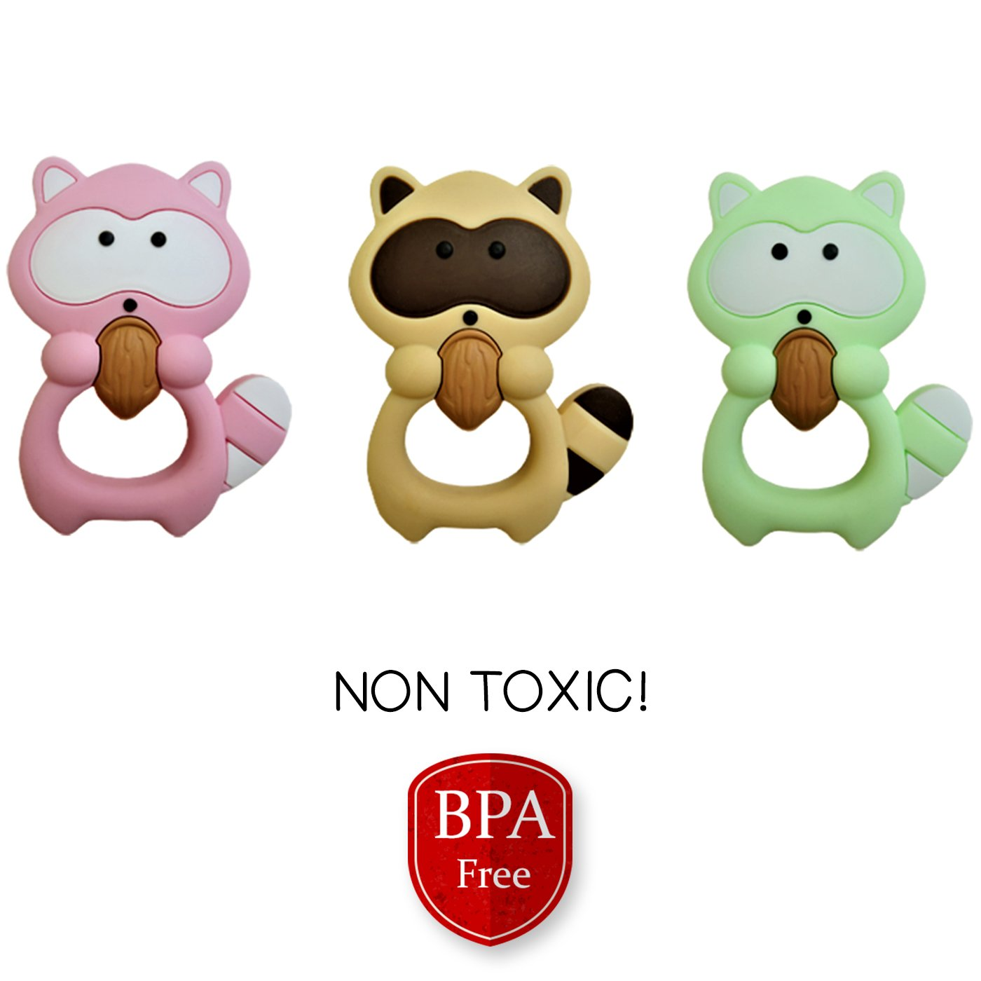 Teething Toys by Babypeanut Binki The Raccoon Baby Teethers Bpa Free 100/% Soft Silicone Teether Toys for Babies Pink Moms Highly Recommend Freezer Friendly